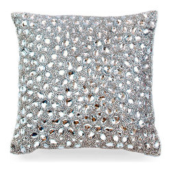 Jewel in Diamond Pillow - Glittering jeweled beading in the Jewel in Diamond Pillow bring an element of glamour and glitz to any space. Perfectly suited for a formal living area or even your master suite, this accent is sure to garner much attention from those who gaze upon it. Each Aviva Stanoff piece is specially crafted for you upon ordering and takes 8-10 weeks but is absolutely worth the wait.