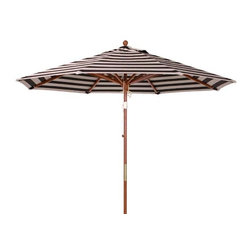 Fifthroom - 7.5' Octagon Wood Market Sunbrella Umbrella w/Wood Pole, Pulley Lift, and No Til - After all of the time that you spent, and the care that you took, in selecting your picnic table or outdoor dining set, you may as well top it off with the best.  Rest assured, you can't go wrong in choosing this marvelous Market Umbrella.  In 7.5' and 9' sizes, its canopy, made from long-lasting Sunbrella fabric, offers up to 98% UV protection.  This umbrella is available in 20 eye-catching colors – and you can't make a bad choice there, either.