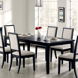 Coaster - Lexton Collection Dining Table in Black - This dining set will accent any room. It is made of solid hardwoods and veneer in a distressed black finish. Dining chairs are covered in a cream chemile. Matching buffet also available.