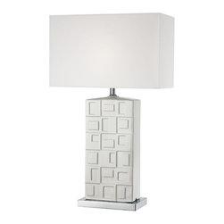 Lite Source - Table Lamp - Chrome/White Ceramic/White Fabric - Table Lamp - Chrome/White Ceramic/White Fabric
