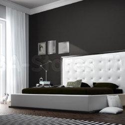 Ludlow Modern Wenge-White Leather Platform Bed -