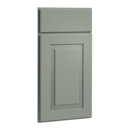 CliqStudios.com - Mendota Harbor Gray Paint Shaker Kitchen Cabinet Sample - Mendota's simple shapes and rich lines make it a perfect fit for any home. The solid wood, full overlay door and the slab drawer front have a matching outside profile. The CliqStudios Mendota door pairs perfectly with stainless appliances, nickel finish hardware, glass subway tile backsplash, modern bar stools, hardwood floors and granite countertops.  Mendota works equally well in an open concept kitchen, galley kitchen, u-shaped kitchen, kitchen island, kitchen peninsula or in a nearby kitchen desk or window seat. Consider coordinating with a variety of recessed lighting, undercabinet task lighting, pendant lighting and other decorative accents.