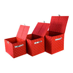 Enchante Accessories Inc - Raymond Waites Nylon Strap Bins with Leather Handles, Set of 3, Red/Silver - Store toys, clothes, arts and crafts supplies, tax papers, linens, and more in this set of 3 nesting bins from Raymond Waites. The bins are a great addition to any storage system. Wide tops make it easy to pick up a whole living room scattered with toys for transport back to the kid's room. When empty, one rests inside the other for compact storage. They also collapse flat and tuck away between shelving or lean against the back of the closet without taking up any space. A sturdy design ensures years of reliable laundry storage and transport.