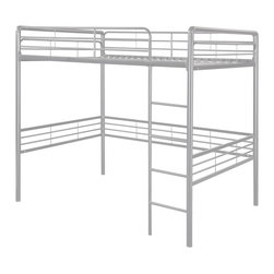 "Dorel Home Products - Full Loft Bed - NOTE: ivgStores DOES NOT offer assembly on loft beds or bunk beds. Includes slat pack. Ideal for teenager's bedroom with limited space. Full size bed on top. Sturdy metal frame and built-in ladder. Provides extra space underneath for sitting area or desk. Warranty: One year. Weight capacity: 300 lbs.. 78 in. L x 57 in. W x 72 in. H (97 lbs.). Assembly Instructions. ""Bunk Bed Warning. Please read before purchase.""Create a room where kids will want to spend all their free time, starting with this metal loft bed which allows them to customize their bedroom space to suit their personal style. The area underneath the loft bed is large enough to let them create their very own den for relaxing, playtime or quiet study area."