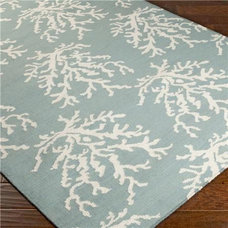 Sea Coral Dhurrie Rug - Blue, Green or Grey - Shades of Light