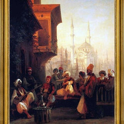 """Ivan Constantinovich Aivazovsky-16""""x20"""" Framed Canvas - 16"""" x 20"""" Ivan Constantinovich Aivazovsky Coffee-house by the Ortak Mosque in Constantinople framed premium canvas print reproduced to meet museum quality standards. Our museum quality canvas prints are produced using high-precision print technology for a more accurate reproduction printed on high quality canvas with fade-resistant, archival inks. Our progressive business model allows us to offer works of art to you at the best wholesale pricing, significantly less than art gallery prices, affordable to all. This artwork is hand stretched onto wooden stretcher bars, then mounted into our 3"""" wide gold finish frame with black panel by one of our expert framers. Our framed canvas print comes with hardware, ready to hang on your wall.  We present a comprehensive collection of exceptional canvas art reproductions by Ivan Constantinovich Aivazovsky."""