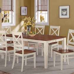 """East West Furniture - 7Pc Quincy Rectangular Dining Set in Buttermilk and Cherry Finish - 7Pc Quincy Rectangular Dining Set in Buttermilk & Cherry Finish; Contemporary four-legged table & chairs for dining room or eat-in kitchen; Two-tone rectangular dinette table with brown top and white legs; High-back chair sets with gentle curves, crisscross design on upper chair backs and lower horizontal bar; Two-tone chair sets with white frame and wood grain finish on brown trim pieces and brown seat; Grooved pattern on recessed side panels of kitchen or dining room table & chairs; Dinette chair seats gently sculpted for comfort with horizontal side rungs for added support; Weight: 228 lbs; Dimensions: Table: 60-78""""L x 40""""W x 30""""H; Chair: 18""""L x 18""""W x 38.5""""H"""