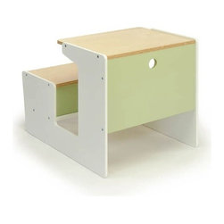 Offi Sled Desk, Green - I love this modern take on the classic school desk. It's simple yet stylish, and little ones don't have to worry about tripping over a chair when getting out. There's storage space under the seat, and the whole thing is painted with nontoxic paints.