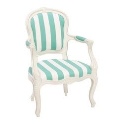 Stripe Ooh La La Armchair | PBteen - Stripe Ooh La La Armchair $ 349.00 Delivery Surcharge: $ 20.00 Wide stripes and floral carvings make this Parisian seat extra chic. It's artfully crafted with curved feet, ridged moldings and cotton twill upholstery. 25