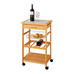 Organize It All Inc. - Kitchen Cart With Basket And Wine Storage - Top drawer provides room to store wine openers or utensils. Basket can hold a selection of fruits and bread. Wine rack is conveniently built into the cart and can hold four bottles of wine. Bottom shelf is ample room to store serveware. Wheels for easy mobility.  Color: Natural / Chrome.