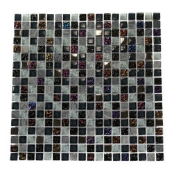 "Nimbus Gray Blend Squares Marble & Glass Tile - Nimbus Gray Blend Squares 1/2 x 1/2 Glass and Stone Tile The smooth glass and stone combination creates a beautifully multi-dimensional effect. Great to install in kitchen back splashes, bathrooms and any decorated spot in your home. The mesh backing not simplifies installation, it also allows the tiles to be separated which adds to their design flexibility. Chip Size: 1/2"" x 1/2"" Color: Iridescent, Black, Stainless Steel and Gray/White Material: Stainless Steel, Marble and Glass Finish: Polished, Textured and Matte Sold by the Sheet - each sheet measures 12"" x 12"" (1 sq. ft.) Thickness: 8mm Please note each lot will vary from the next."
