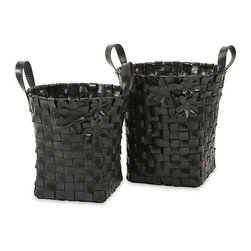 """IMAX - Carswell Recycled Tire Baskets - Set of 2 - Recycled tire rubber is melted and formed into strips to create this set of two Carswell baskets with floral appliques. Item Dimensions: (19-22.5""""h x 16-18.5""""w x 15.5-18.25"""")"""