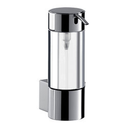 "WS Bath Collections - System 3521.001.00 Wall Mount Soap Dispenser - System 3521.001.00, 2.0"" x 3.2"" x 5.8"", Soap Dispenser in Clear Crystal Glass/Polished Chrome"