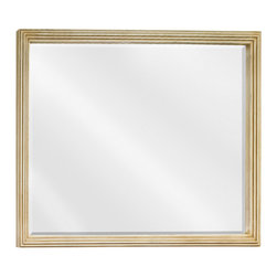 "Hardware Resources - Lyn Design MIR028-48 Wood Mirror - 44"" x 34"" Large buttercream reed-frame mirror with beveled glass"