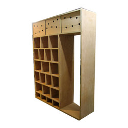 CNC custom mill work - Custom organizer cubbie with CNC milled 'energy' pattern in upper doors.