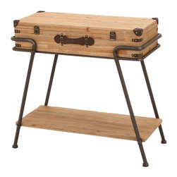 Benzara - Metal Wood Chest Table 32in.W, 30in.H Accent Collection - Made with solid beach wood and iron alloy Size: 32 in. x13 in. x30 in.