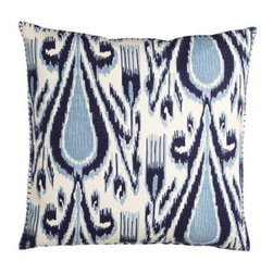 John Robshaw - John Robshaw Indigo-Print Fergano European Sham - John Robshaw is our go-to guy for eye-opening patterns reproduced from hand-block-printed originals. This indigo collection features Pamir diamond duvet covers and shams of 200-thread-count cotton percale. Talas chevron quilts with striped reverse are...