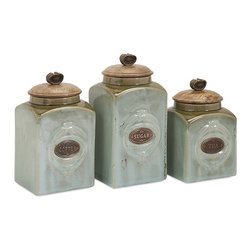 """IMAX - Addison Ceramic Canisters - Set of 3 - Coffee, tea or me? How about a set of three ceramic canisters, handily labeled and decorated for retro appeal. Dimensions:(7-8-9""""h x 4.25-4.25-4.25""""w x 4.25-4.25-4.25"""")"""