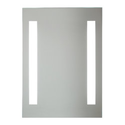 Vanita And Casa - Rectangular Fluorescent Light Mirror - An elegant bathroom accessory, this vanity mirror is a perfect addition to any contemporary or modern bathroom setting. It is wall mounted and is crafted from mirrored glass and comes in a shiny, polished chrome finish. This mirror was made in Italy by Vanita and Casa. Fluorescent lights included. Lamp: T9-40 W. Voltage: 110V. Mirror thickness: 0.2 inch. Safety PVC film packing. Defogger function. Rounded corners. UL listed and certified. On/Off switch, Direct wire.