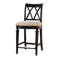 American Drew - American Drew Camden-Dark Counter Height Barstool in Black - The Camden-Dark accents simple forms with quiet traditional references, gentle curves and a beautiful rustic black finish that lets the character of the wood show through. The brushed nickel finish hardware adds even more character to Camden. This collection will work great in most any setting. Create an urban rustic loft, a classic antique look or a mountain vacation home.