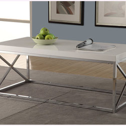 None - Glossy White/ Chrome Metal Cocktail Table - A sleek white with chrome metal support, this table is the perfect way to upgrade your home decor. With sturdy legs and a clean, rectangular shape, this table is both functional and stylish.