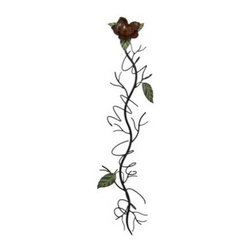 47 Inch Vertical Hibiscus Vine Metal Wine Holder Wall Mount - This beautiful 47 inch high wall mounted metal wine bottle holder is shaped like an hibiscus vine, with leaves and a flower on the top. The holder has a wonderful green and brown enamel finish that adds warmth to kitchens, dining rooms and dens. It hold 4 wine bottles. The complete dimensions are 47 inches tall, 13 inches wide and 5 inches deep. It hangs on the wall with a single nail or picture hanger. This incredible piece makes a great housewarming present. We have a very limited supply of these, so don`t miss out. Get yours now!