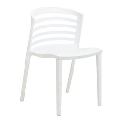Modway Furniture - Modway Curvy Dining Side Chair in White - Dining Side Chair in White belongs to Curvy Collection by Modway Indulge in no-frills, straightforward contemporary style with this modern multi-purpose chair. Made from heavy-duty molded plastic this chair was built to last. Eye catching and comfortable, this reproduction brings fashion and flavor to your space. Set Includes: One - Curvy Plastic Chair Side Chair (1)