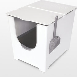 Modko Flip Litter Box - Front entry litter box , 2 paper board liners and scoop . Its flipping lid offers one finger access, while the coated paperboard liner and ergonomic scoop ensure unparalleled containment and thorough clean-up. Amazingly, all of this is incorporated into one handsome package.