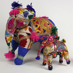 Cosmopolitan Animal, Elephant - These fabulous fabric elephants are available in two sizes for very exotic and global holiday decor.