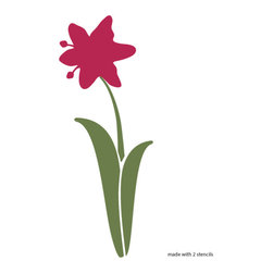 "My Wonderful Walls - Lily Flower Stencil for Painting - - 7.5""w x 25""h lily flower wall stencil"