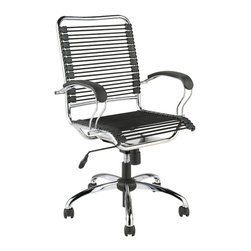 Eurostyle - Bungie J-Arm Office Chair-Black/Chrome - Extra strong bungie cords