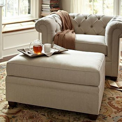 """Chesterfield Upholstered Ottoman, Polyester Wrap Cushions, Linen Silver Taupe - Comfort and style define our Chesterfield Collection. Crafted in the America using eco-friendly components, our ottoman works equally well as additional seating or as a footrest companion to the Chesterfield Sofa or Armchair. 38"""" w x 27"""" d x 21"""" h {{link path='pages/popups/PB-FG-Chesterfield-3.html' class='popup' width='720' height='800'}}View the dimension diagram for more information{{/link}}. {{link path='pages/popups/PB-FG-Chesterfield-4.html' class='popup' width='720' height='800'}}The fit & measuring guide should be read prior to placing your order{{/link}}. Ottoman has a polyester wrapped cushion. Proudly made in America, {{link path='/stylehouse/videos/videos/pbq_v36_rel.html?cm_sp=Video_PIP-_-PBQUALITY-_-SUTTER_STREET' class='popup' width='950' height='300'}}view video{{/link}}. For shipping and return information, click on the shipping info tab. When making your selection, see the Special Order fabrics below. {{link path='pages/popups/PB-FG-Chesterfield-5.html' class='popup' width='720' height='800'}} Additional fabrics not shown below can be seen here{{/link}}. Please call 1.888.779.5176 to place your order for these additional fabrics."""