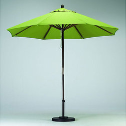 None - Premium 9-foot Lime Green Patio Umbrella with Base - Stay cool in the shade with this lime green nine-foot patio umbrella. The sturdy wood frame supports a durable polyester cover. Weatherproof and UV protected, this surprisingly light-weight umbrella resists mold damage and color fading.