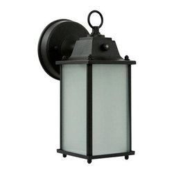 Efficient Lighting - Powder Coated Victorian Bronze Energy Star Outdoor Wall Lantern with Photocell a - -Rectangle style, die-cast aluminum exterior wall lantern with frosted glass diffuser, and a powder coated Victorian bronze finish; photocell included  -For use in hallways, garage, and driveways  -Instant start and flicker free  -Quick run-up time  -Comes with a 2 year warranty  -Easy installation and lamp replacement  -Includes a self-ballast GU-24 bulb  -Energy Star Qualified  -Frosted Glass Diffuser  -Photocell Included Efficient Lighting - EL-102-123VB