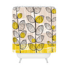 DENY Designs - Rachael Taylor 50s Inspired Shower Curtain - You can be Doris any day with this midcentury mod–inspired shower curtain. Flower stems and graphic blocks and squiggles in black, gray, white and bright yellow stretch past the top of the woven polyester. Pick one up today and give your bath a mod pop of fun. Just please don't eat the daisies.