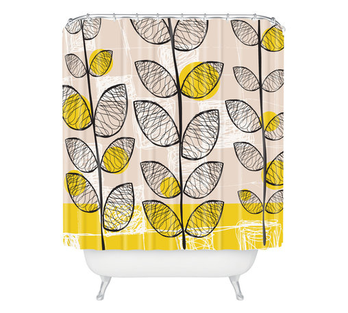 DENY Designs - Rachael Taylor '50s-Inspired Shower Curtain - You can be Doris any day with this midcentury mod–inspired shower curtain. Flower stems and graphic blocks and squiggles in black, gray, white and bright yellow stretch past the top of the woven polyester. Pick one up today and give your bath a mod pop of fun. Just please don't eat the daisies.