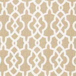 Schumacher - Summer Palace Fret Fabric, Sand - 2 Yard Minimum Order