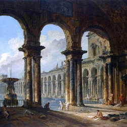 """Hubert Robert Ancient Ruins Used as Public Baths   Print - 16"""" x 24"""" Hubert Robert Ancient Ruins Used as Public Baths premium archival print reproduced to meet museum quality standards. Our museum quality archival prints are produced using high-precision print technology for a more accurate reproduction printed on high quality, heavyweight matte presentation paper with fade-resistant, archival inks. Our progressive business model allows us to offer works of art to you at the best wholesale pricing, significantly less than art gallery prices, affordable to all. This line of artwork is produced with extra white border space (if you choose to have it framed, for your framer to work with to frame properly or utilize a larger mat and/or frame).  We present a comprehensive collection of exceptional art reproductions byHubert Robert."""