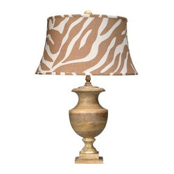 Jamie Young Co. - Jamie Young Co. Large Lee Urn Table Lamp - From Jamie Young's Low Country Collection, the Lee Urn Table Lamp is a beautiful turned wood table lamp.  A classic design in a simple material, the Lee Urn table lamp is a great alternative for someone who wants an updated classic look.  Completed with a fun zebra print hourglass shade.