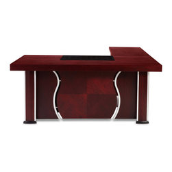 "Zuri Furniture - Pierce Polished Mahogany Desk - Left Return - You will feel like a boss at this statement desk. With a three inch desktop, rich mahogany finish, and chrome details, style will exude from your very existence. The Pierce desk also includes a small sliding drawer inside the desktop, a leather writing pad, and two port holes for monitor and phone cables. The return features a 20.5"" keyboard tray and CPU storage. As an added bonus, the Pierce ships with a matching rolling locking filing cabinet with storage drawer for ultimate flexibility in setup.  Width: 70.75"" Height: 29.5""  Depth: 35.5"" (Desk only) 82.5"" (Desk + Return) Writing Pad Width: 28""  Rolling Filing Cabinet: 23.75"" High x 16"" Wide x 19.75"" Deep Desktop Thickness: 3""  Keyboard Tray Width: 20.5"""