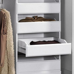 Home Decorators Collection - Manhattan Modular Storage Drawers - Expand the function of your custom closet system by adding the Manhattan Modular Storage Drawers. Designed for use with the entire Manhattan series of custom closet organization, these open drawers are perfect for shirts, pants and an assortment of clothing accessories. Order yours today and optimize your organization potential. Features four drawers for all your clothing accessories. Complements a wide range of home decor styles.