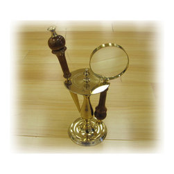 ecWorld - Handcrafted Antique Replica Brass Magnifying Glass & Letter Opener Desk Set - This is an elegant way to make a statement on your desk, at your home or office and a great gift for someone special. This set includes a letter opener and a magnifying glass beautifully match with a wood handle finish - you'll love it!