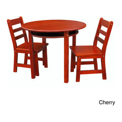 None - Childrens Round Table and Chair Set - Provide your kids with space to draw or color with this children's wooden table and chair set. This furniture is available in a number of finishes to properly accent a bedroom or play room,and the 100-percent wood pieces are durable for children.