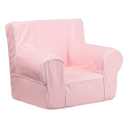 Flash Furniture - Small Light Pink Dot Kids Chair with White Piping - This comfy foam chair is a fun piece of furniture for children to enjoy for reading and relaxing. The lightweight design with carrying handle will allow this chair to be toted in several locations. The slipcover can be removed for cleaning or spot cleaned upon accidents.