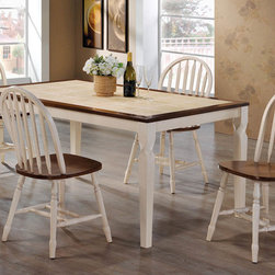 Coaster - Bradley Dining Table - This lovely dining collection is ideal for busy households. The natural finished wood framed rectangular table top features antique white colored tiles for a warm look that is easy to care for. Pair with arrow back windsor chairs from this collection for a harmonious style that everyone will love.