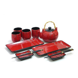MySushiSet.com - Scarlet Script Sushi and Tea Set - A brilliant Scarlet Script Sushi and Tea Set will be an outstanding Christmas gift idea for someone on your list. These beautifully handcrafted Japanese serving dishes make a lovely display even before you add to food and beverage to them!