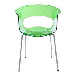 Eurostyle - Miss B Antishock Side Chair (Set of 4) - Lime Green/Chrome - Recyclable polycarbonate shell