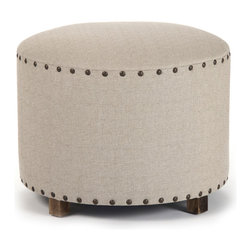 Zentique - Round Stool, Natural - Round stool with cotton/tweed upholstery and iron nail head trim.