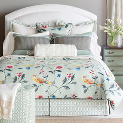 Eastern Accents - Gwyneth Bedset - The light and lovely Gwyneth bedset provides luxurious style that feels as good as it looks. This coordinated ensemble makes it simple to create an uplifting bed with a garden scene full of birds and blooms. Layers of texture make this a unique set, utilizing fine details and fabrics in coral, yellow, sage green, turquoise and ivory. The deluxe bedset includes a duvet cover, bed skirt, 1 or 2 euro pillow shams, 1 or 2 standard or king pillow shams and a bolster pillow (see bedset details for specifications). Set is available in twin, full, queen, super queen, king, super king and California king. Complete this look with the optional Gwenyth decorative euro pillow or Montoya Jade curtain panels. Professional cleaning recommended for all finished pieces.