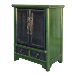 Golden Lotus - Chinese Antique Green Black Nightstand End Table Cabinet - Look at this Chinese antique nightstand end table which is made of solid elm wood.
